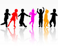 Kids silhouettes. Happy kids together Royalty Free Stock Photos