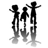Kids Silhouettes Isolated On White Background Stock Photography