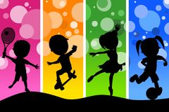 Kids Silhouettes Playing Sports Background. Four cartoon kids silhouettes playing different sports, on a funky and colorful background. Eps file available Stock Photo