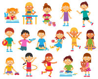 Kids silhouettes set Stock Image