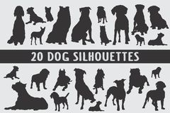 20 Dogs Silhouettes various design set royalty free illustration