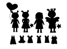 Kids silhouettes vector Royalty Free Stock Photos