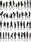 Kids silhouettes, vector illustration  Royalty Free Stock Images