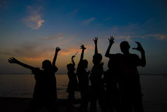 Kids in a silhoutte. Royalty Free Stock Photos