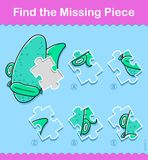Kids cartoon fish Find The Correct Piece Puzzle. Kids simple little green cartoon fish Find The Correct Piece educational puzzle swimming underwater with one Royalty Free Stock Photos