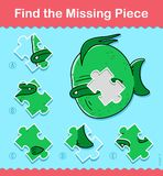 Kids cartoon fish Find The Missing Piece Puzzle. Kids simple little green cartoon fish Find The Missing Piece educational puzzle swimming underwater with one Stock Images