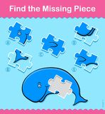 Kids cartoon Whale Find The Missing Piece Puzzle. Kids simple little green cartoon Whale Find The Missing Piece educational puzzle swimming underwater with one Stock Photo
