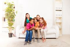 Kids sing at home Stock Images