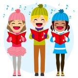 Kids Singing Christmas Carols. Flat color style illustration of kids singing Christmas carols Royalty Free Stock Image