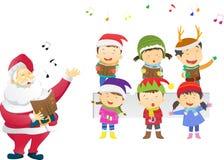 Kids singing Christmas carols with santa. Vector illustration of  kids singing Christmas carols with santa isolated on white Royalty Free Stock Photography