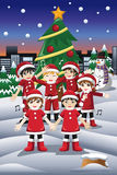 Kids Singing Christmas Carols Royalty Free Stock Photography