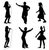 Kids singing dancing. Illustration of kids singing and dancing. Isolated white background. EPS file available Royalty Free Stock Photos