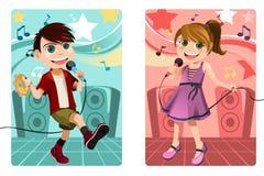 Kids singing karaoke. A vector illustration of kids singing karaoke Stock Image