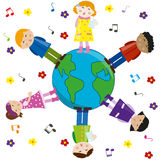 Kids singing for peace. Vector. Multicultural children singing over the world for peace. Vector Royalty Free Stock Photography