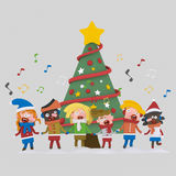 Kids singing xmas songs.3D royalty free illustration