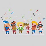 Kids singing  xmas songs. 3D. Kids singing xmas songs. 3DnnCustom illustration, contact me Stock Image