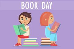 Kids Sits on Pile of Literature on Book Day Card. Two kids sitting on pile of literature and holding color textbooks isolated on purple. Book day card vector Stock Photography