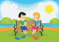 Kids sitting on bench  illustration Royalty Free Stock Image