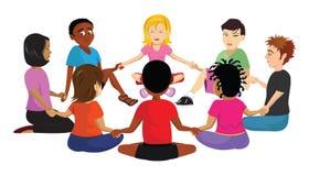 Kids sitting circle. Cartoon vector illustration of kids sitting in a circle Stock Photos