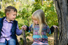 Kids Sitting on the Fence Holding on the Brace Stock Photography
