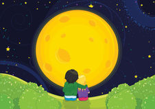 Kids sitting under moonlight vector illustration Royalty Free Stock Images