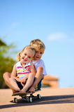 Kids on skateboard royalty free stock images