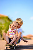 Kids on skateboard royalty free stock photography