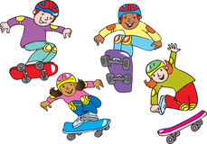 Kids on skateboards. Four cartoon kids on skateboards Stock Photography
