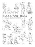 Kids sketch silhouettes. Playing walking, learning Royalty Free Stock Image