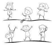 Kids sketches. Lids activity sketches on a white background Royalty Free Stock Images