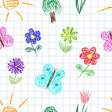 Kids sketches seamless pattern Stock Photo