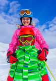 Kids at ski resort Royalty Free Stock Images