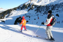 Kids skiing training stock photos