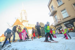 Kids skiing in Zagreb Stock Photography