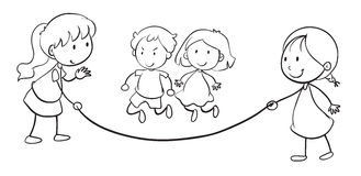Kids skip rope royalty free illustration