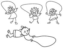 Kids skipping. Line art funny cartoons of skipping kids Stock Photography