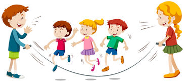 Kids skipping rope  in team Royalty Free Stock Image