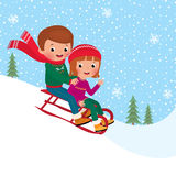 Kids sledding. Illustration of boy and girl children sledding together Royalty Free Stock Photos