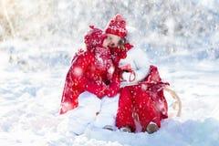 Kids sledding in winter forest. Children drink hot cocoa in snow. Kids sledding in winter forest. Children drink hot chocolate on sled under warm blanket. Boy Royalty Free Stock Photos