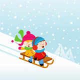 Kids On Sledge. Cute little kids on the sledge Royalty Free Stock Photos