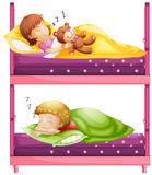 Kids sleeping in bunkbed at night Stock Images