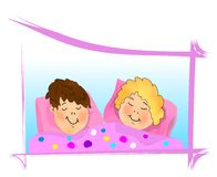 Kids sleeping, cdr vector Stock Photography