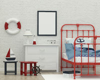 Kids sleeping room interior 3d rendering image. Children's white bedroom in a marine style. 3d rendering image royalty free stock photos