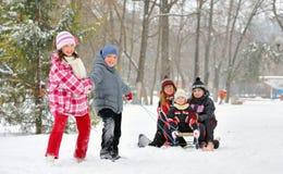 Kids sliding stock photo