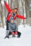 Kids sliding Royalty Free Stock Photography