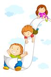 Kids sliding on Paper. Vector illustration of kids sliding on paper in sky Royalty Free Stock Photos