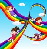 Kids sliding on rainbow in sky. Illustration of kids sliding on rainbow in sky Stock Photos