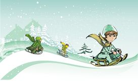 kids sliding in the snow Royalty Free Stock Image