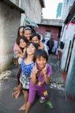 Kids in a slum In jakarta stock image