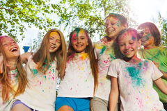 Kids smeared with colored powder on the color fest Royalty Free Stock Photos